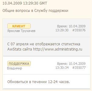hosting support Скорость реакции техподдержки